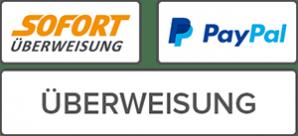 Zahlarten bei Yogaladen.com: SOFORT-Überweisung, PayPal und Banküberweisung