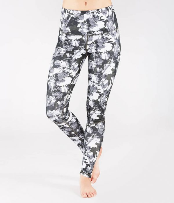 Manduka Yoga-Legging THE HIGH LINE DIGITAL FLORAL grau-weissem Floral-Print für Frauen 1