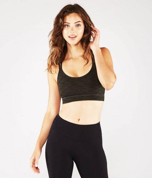 Manduka Yoga-Oberteil CROSS STRAP BRA OLIVINE HEATHER grün meliert für Frauen 1