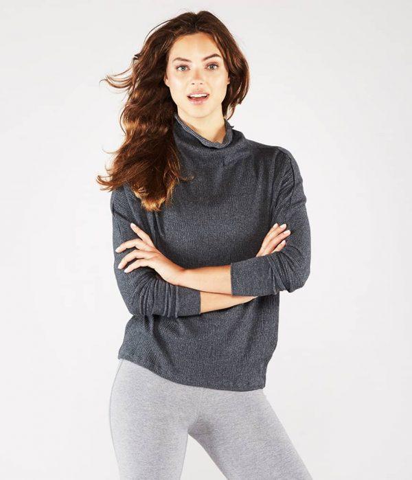 Manduka Yoga-Tunika CRINKLE FUNNEL TUNIC DK HEATHER GREY dunkel-grau meliert für Frauen 1