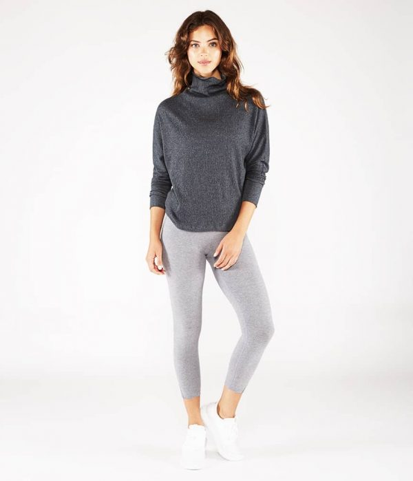 Manduka Yoga-Tunika CRINKLE FUNNEL TUNIC DK HEATHER GREY dunkel-grau meliert für Frauen 7