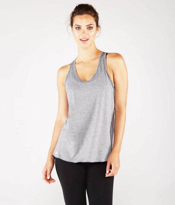 Manduka Yoga Tank-Top KOSHA OPEN BACK TANK HEATHER GREY grau meliert für Frauen 1