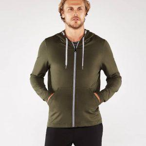 Manduka Yoga-Hoodie INTENTIONAL ZIP HOODIE OLIVINE oliv-grün für Männer 1